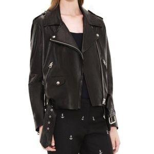 NWT Acne Classic Mape Black Leather Jacket. Sz 34.